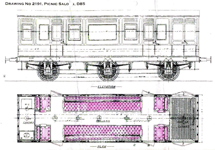 picnic saloon elevation and plan